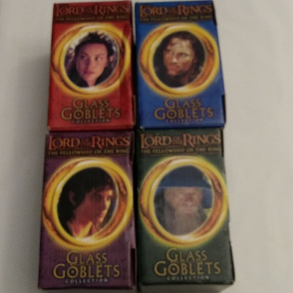 Other - Four Glass Goblets Lord Of The Rings Glass Goblets